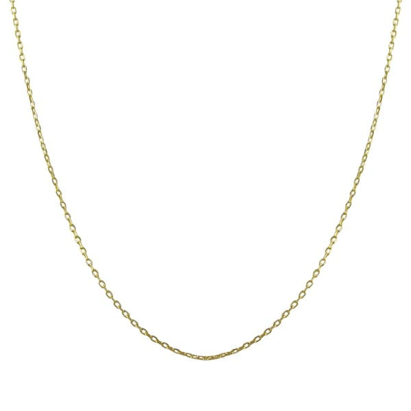 Gold Finish Sterling Silver Necklace Chain 16-inch with 2-inch Extender