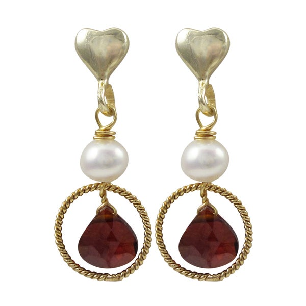 Gold Finish Sterling Silver Freshwater Pearl Cubic Zirconia Heart Earrings