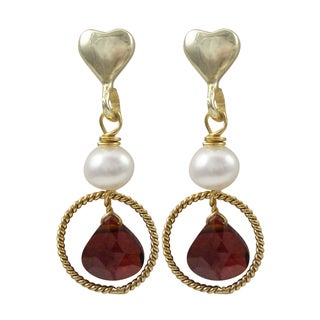 Gold Finish Sterling Silver Freshwater Pearl Cubic Zirconia Heart Earrings