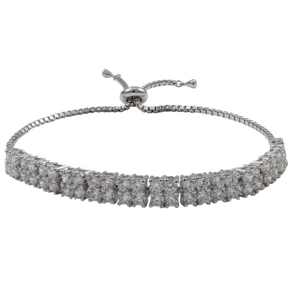 Sterling Silver Cubic Zirconia Square Two-row Adjustable Bracelet