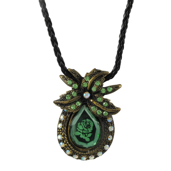 Antique Gold Finish Green Glass and Crystal Rose Pendant Necklace