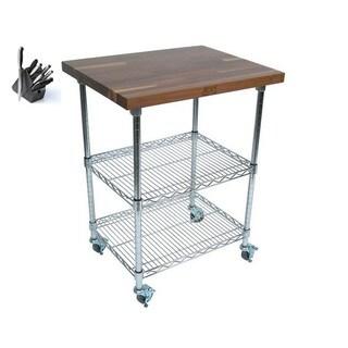 John Boos 27x21 36 High MET-WWC-1 Mobile Wire Cart with Bonus 13-piece Henkels Knife Set