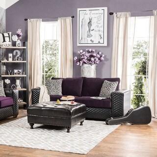 Furniture of America Armin Modern 2-tone Fabric-Leatherette Sofa