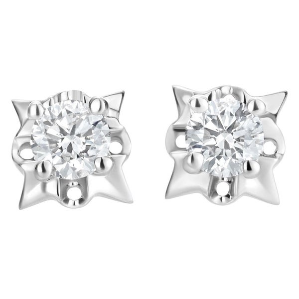 SummerRose 14k White Gold 1/2ct TDW Diamond Spiked Stud Earrings (H-I, SI1-SI2)
