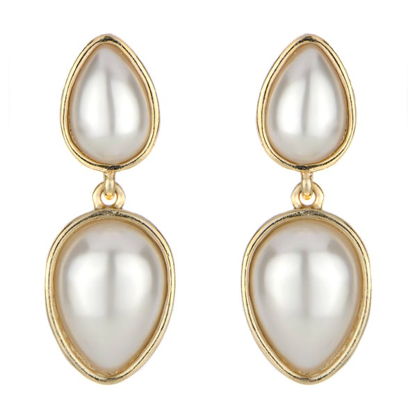 Brass Pearl Tear Drop Earrings