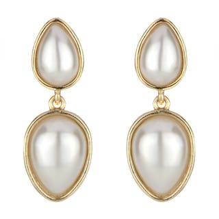 Goldtone Cultured Pearl Teardrop Earrings