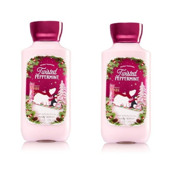 Bath and Body Works 8-ounce Shea and Vitamin E Lotion Twisted Peppermint (Pack of 2)
