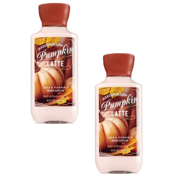 Bath and Body Works 8-ounce Shea and Vitamin E Lotion Marshmallow Pumpkin Latte (Pack of 2)