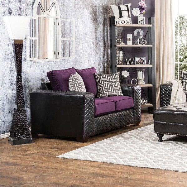 Furniture of America Armin Modern 2-tone Fabric-Leatherette Loveseat