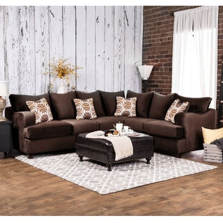 Furniture of America Nisha II Modern Chocolate Premium Fabric L-Shaped Sectional