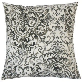 Serissa Damask Feather and Down Filled 18-inch Throw Pillow
