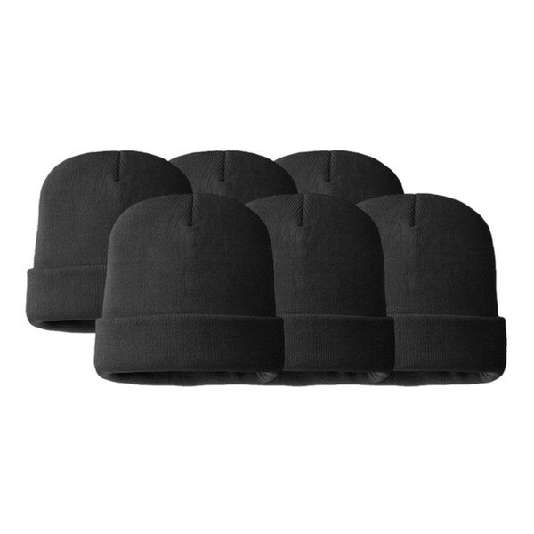 Unisex Double-Layered Winter Beanie (Pack of 6)