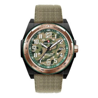Swiss Military by R 50505 37NR V Commando Men's Green Camo Dial Rose Gold Bezel Watch with pocket military knife