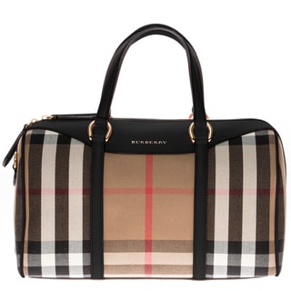 Burberry Medium Alchester in House Check and Leather Handbag