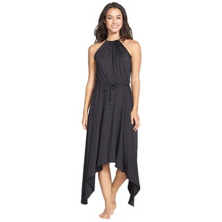 PilyQ Women's Hampton Black Handerkerchief Hem Maxi Dress