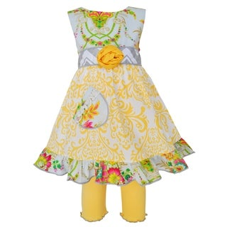 AnnLoren Girls Yellow Damask and Floral Dress with Capri Leggings