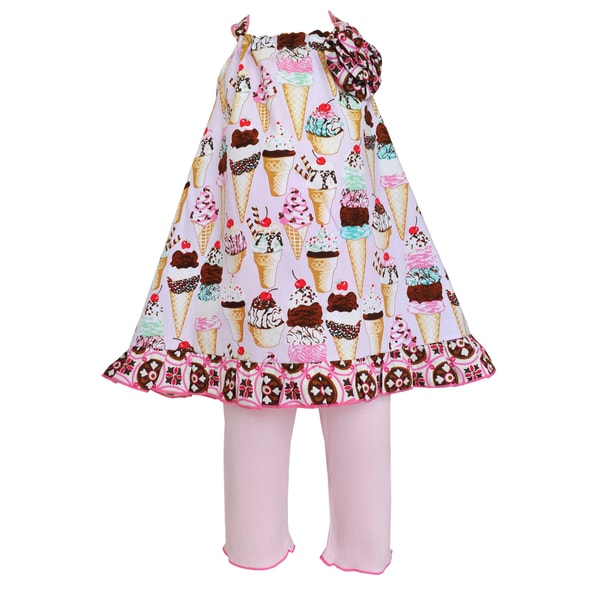 AnnLoren Girls Pink Ice Cream Cone Halter and Capri Outfit