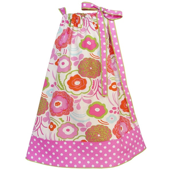 AnnLoren Girls Pink and Green Flower Pillow Case Dress Set