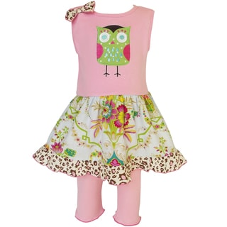 AnnLoren Girls Spring Floral Owl Dress and Leggings Outfit