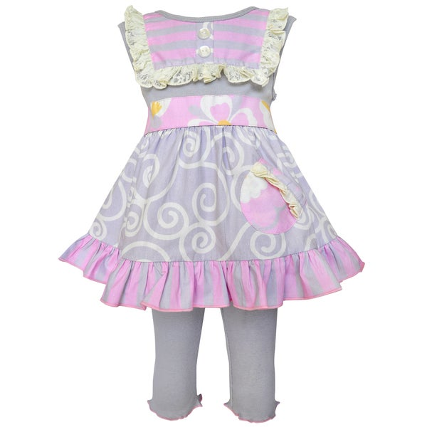 AnnLoren Girls Grey Swirl and Pink Stripes Capri Dress Outfit