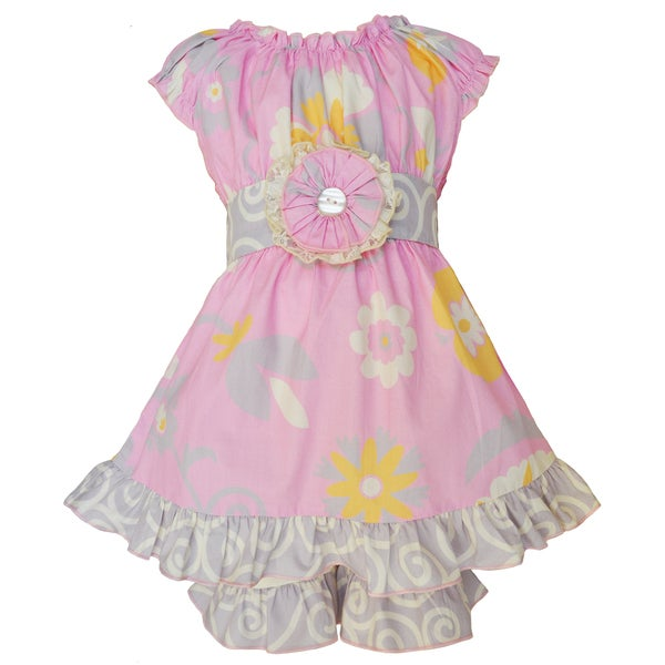 AnnLoren Girls Boutique Pink Floral and Swirl Dress and Shorts Spring Outfit