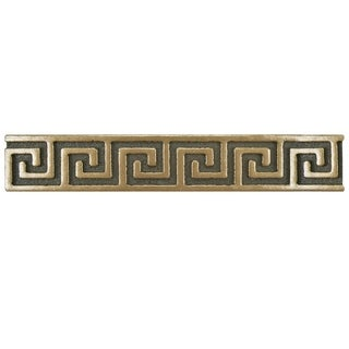 SomerTile 1x6-inch Courant Greek Key Bronze Metallic Liner Trim Wall Tile (Pack of 15)