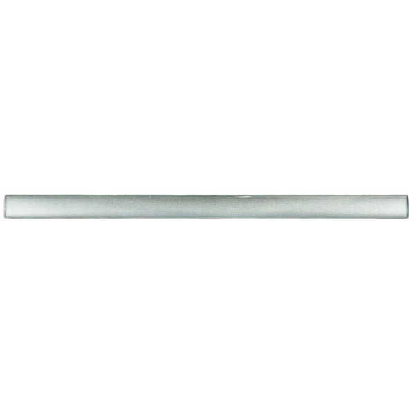 SomerTile .625x11.75-inch Glasstella Pearl Silver Glass Over Porcelain Trim Wall Tile (Pack of 12)