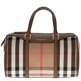 Burberry Alchester in House Check and Leather Medium Handbag