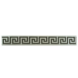 SomerTile 1x8-inch Courant Greek Key Pewter Metallic Liner Trim Wall Tile (Pack of 15)
