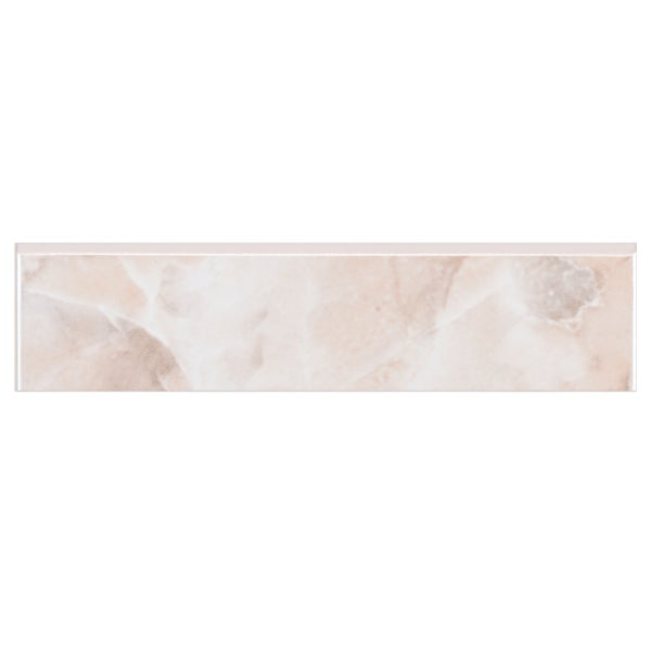 SomerTile 1.75x7.75-inch Zeta Rosa Ceramic Bullnose Trim Wall Tile (Pack of 20)