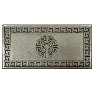 SomerTile 3x6-inch Courant Greek Key Deco Pewter Metallic Trim Wall Tile (Pack of 5)