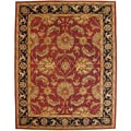Hand-tufted Agra Burgundy and Black Indian Wool Rug (5' x 8')