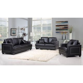 Ferrara Black Leather Nailhead Living Room Set