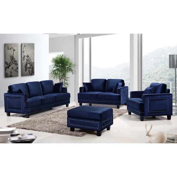 ferrara navy velvet nailhead living room set 18039475
