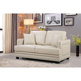 Ferrara Beige Leather Nailhead Loveseat