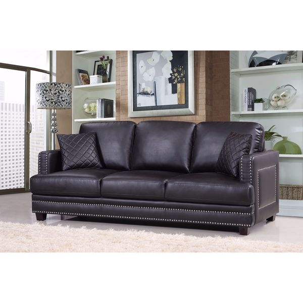 Ferrara Black Leather Nailhead Sofa