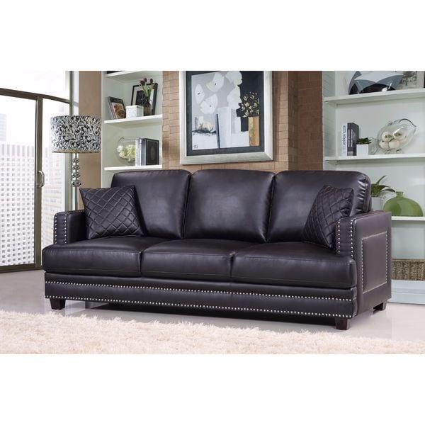 Ferrara Black Leather Nailhead Sofa 18039480 Overstock