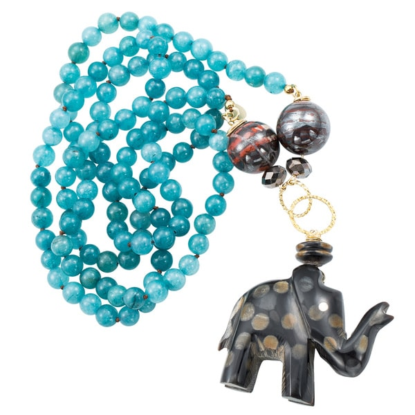 Elephant Dreams Blue Beaded Necklace