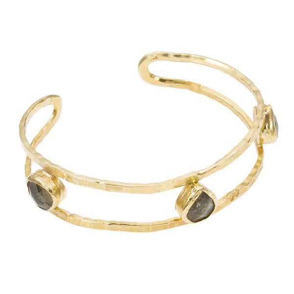 Golden Groove Hammered Cuff