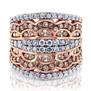 Annello 10k Gold 1 1/2ct TDW Champagne Diamonds Couture Statement Wide Band (H-I, I2)