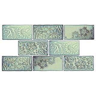 SomerTile 3x6-inch Antiguo Feelings Agua Marina Ceramic Wall Tile (Pack of 8)