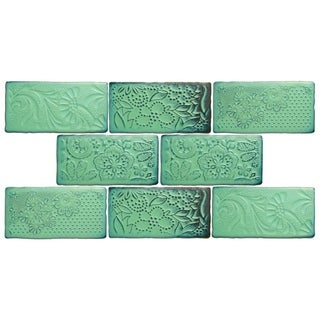 SomerTile 3x6-inch Antiguo Feelings Lava Verde Ceramic Wall Tile (Pack of 8)