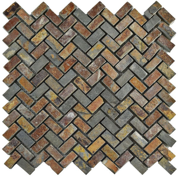 SomerTile 12x12-inch Ridge Herringbone Sunset Slate Natural Stone Floor and Wall Tile (Case of 10)