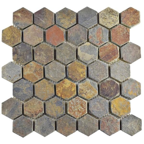 Somertile 12x12 inch ridge hexagon multi slate natural for 1 inch hexagon floor tiles