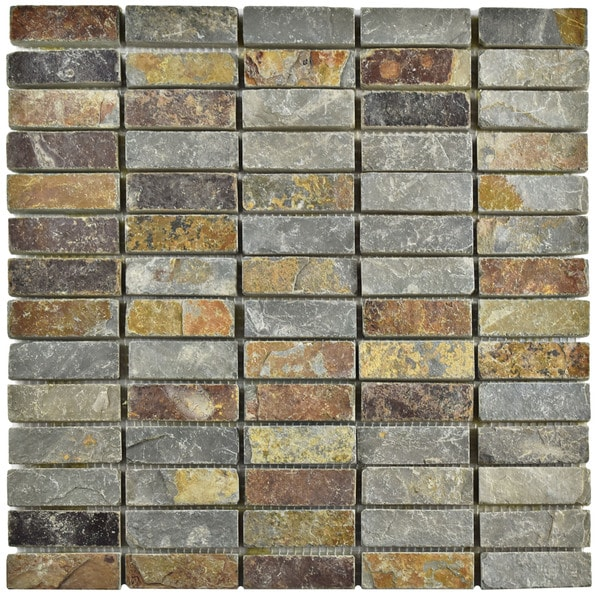 SomerTile 12x12-inch Ridge Linear Sunset Slate Natural Stone Floor and Wall Tile (Case of 10)