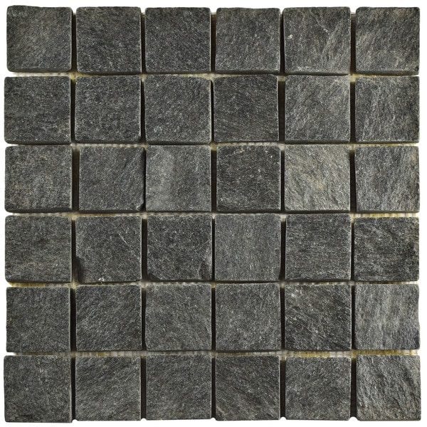 SomerTile 12x12-inch Ridge Quad Black Quartzite Natural Stone Floor and Wall Tile (Case of 10)
