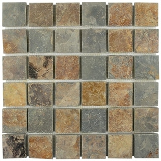 SomerTile 12x12-inch Ridge Quad Sunset Slate Natural Stone Floor and Wall Tile (Case of 10)