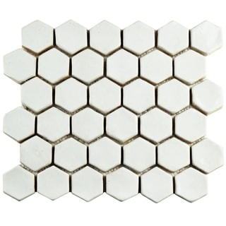 SomerTile 10.5x12-inch London Hexagon White Ceramic Floor and Wall Tile (Case of 5)
