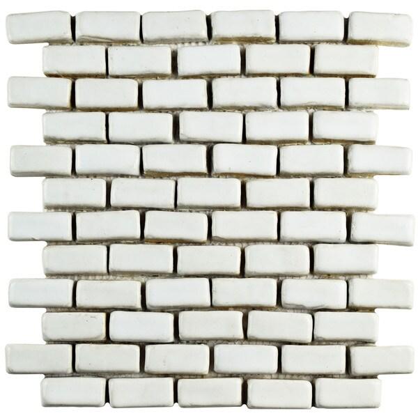 Somertile 12x12 inch london mini subway white ceramic for 12 inch floor tiles