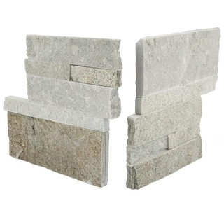 SomerTile 7x7-inch Piedra Honey Natural Quartzite Corner Wall Tile (Pack of 2)